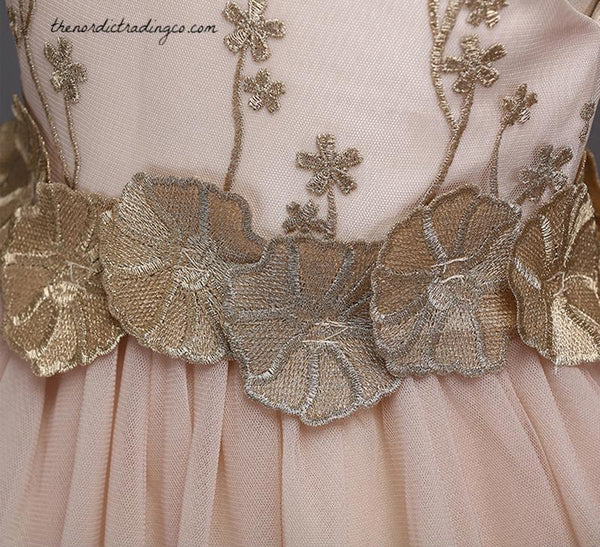 Rose Gold Flower Girl Fit Flare Dress Birthday Party Dresses Cascading Applique Flowers Adorn Bodice size 2 - 11