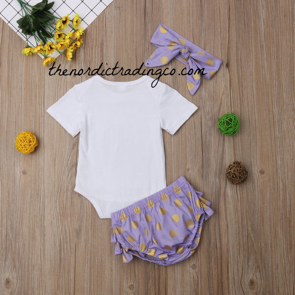 Chillin With My Peeps Newborn Girls 3pc Outfit Purple Gold Dots Easter Bunny Outfits Baby Shower Gift Girl's Clothing Accessories Gifts Bunny Set