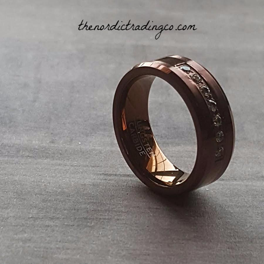 Coffe Brown Tungsten Carbide Mens Wedding Ring Grooms Band