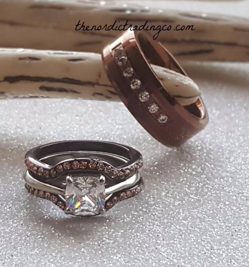 Chocolate Bridal Set and Chocolate Men's Wedding Band