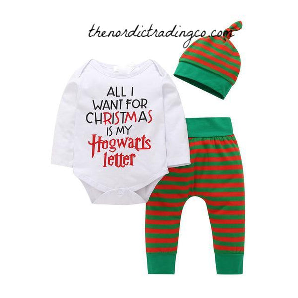 Harry Potter Outfits Baby Boy or Girl Infant Newborn Outfit 3pc Set Pants Shirt Babies Boy's Girl's Baby Shower Gifts Unisex Gift Muggle