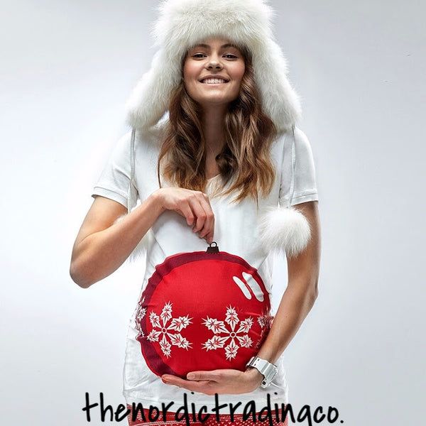 Maternity Shirt 3D Red Christmas Ornament  White Women's Maternity Top Shirt Holiday Clothing Pregnant Photo Prop