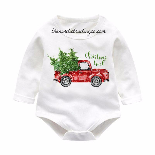 Antique Farm Truck / Christmas Stockings / Vintage Classic Car Xmas Tree Newborn Onesie 3 Styles Farmhouse Imagery Infant Rompers 0 6 9 mo