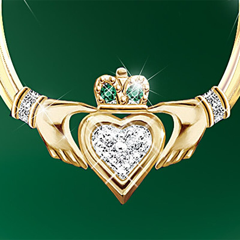 Irish Claddagh Gold Hoop Earrings Emerald Green CZ Accent Stones Womens Accessories Hoop Earrings Jewelry Gift Gifts for Her Women Ladies USA Hands Heart Crown