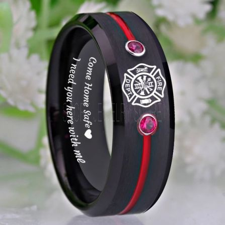 Come Home Safe Mens Firefighter Wedding Rings Thin Red Line Band Mens Rings Fire Gifts