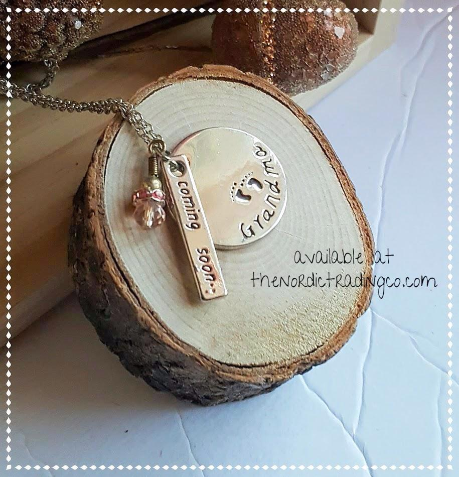 Grandma To Be Gift Baby Feet Necklace Pink Blue Charm No Womens Jewelry