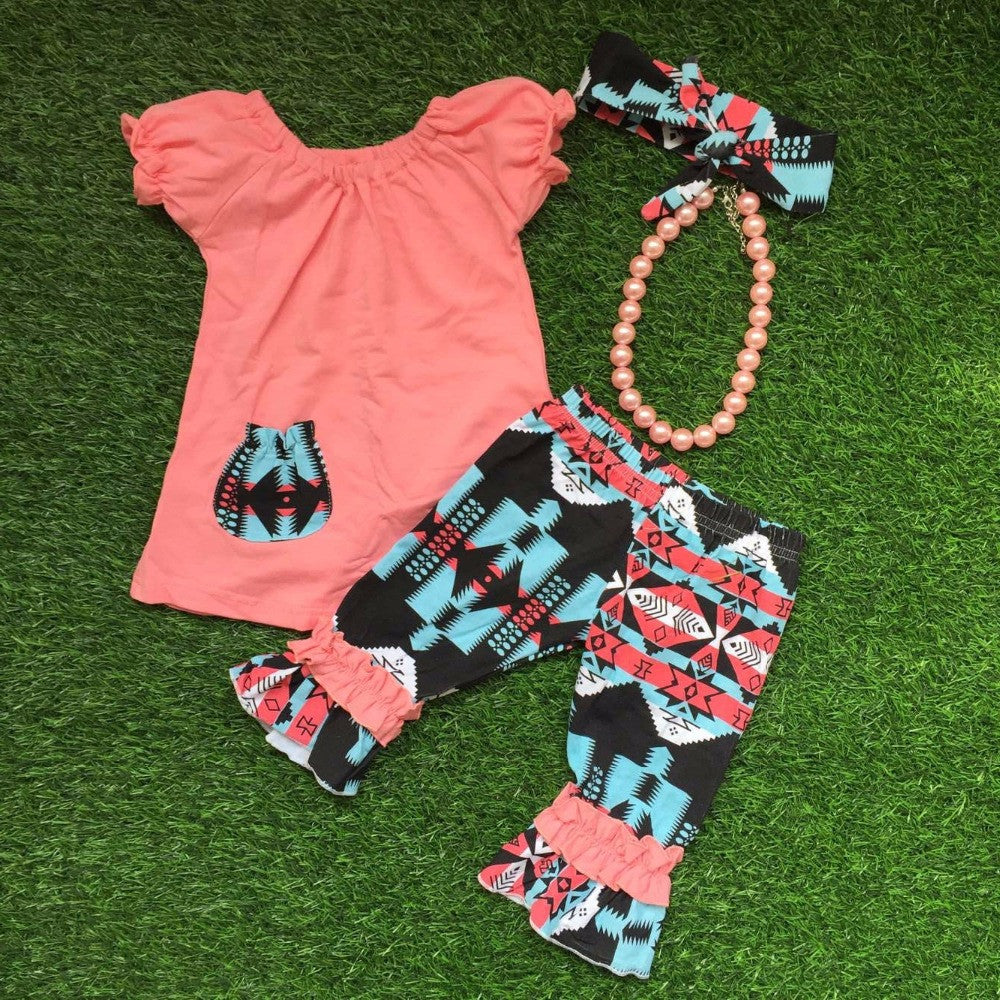 Price drop last one 3T Little Girls Ruffle Aztec Pattern Capri Pants & Swing Top Headband Big Bead Necklace Coral Turquoise Black Colors Toddler Kids Girl