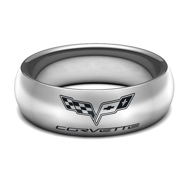Men's Custom Wedding Rings made to suit your passions Tungsten Carbide Corvette Band Black Silver Blue Men Men's Jewelry Promise Ring Gifts Man Him