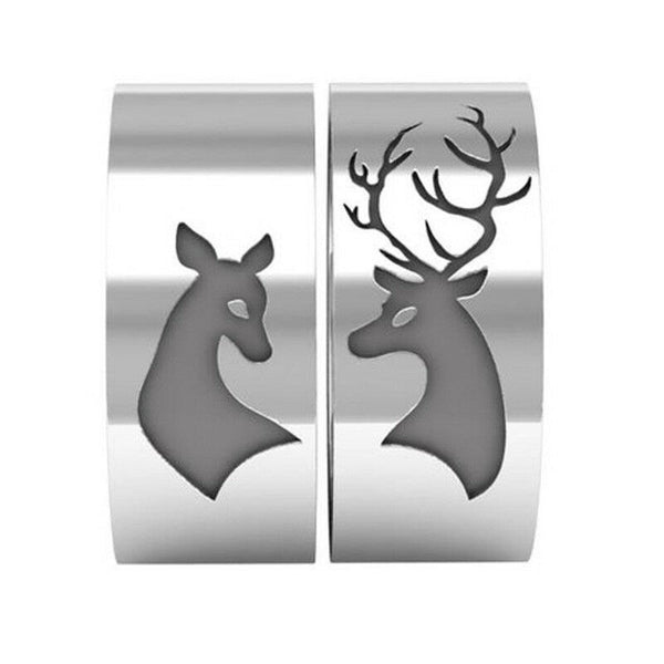 Buck Deer & Doe Couples Ring Set Silver Stainless Steel Hunters Mens Womens Wedding Bands Hunting Jewelry Gifts Matching Engagement Rings Hunt