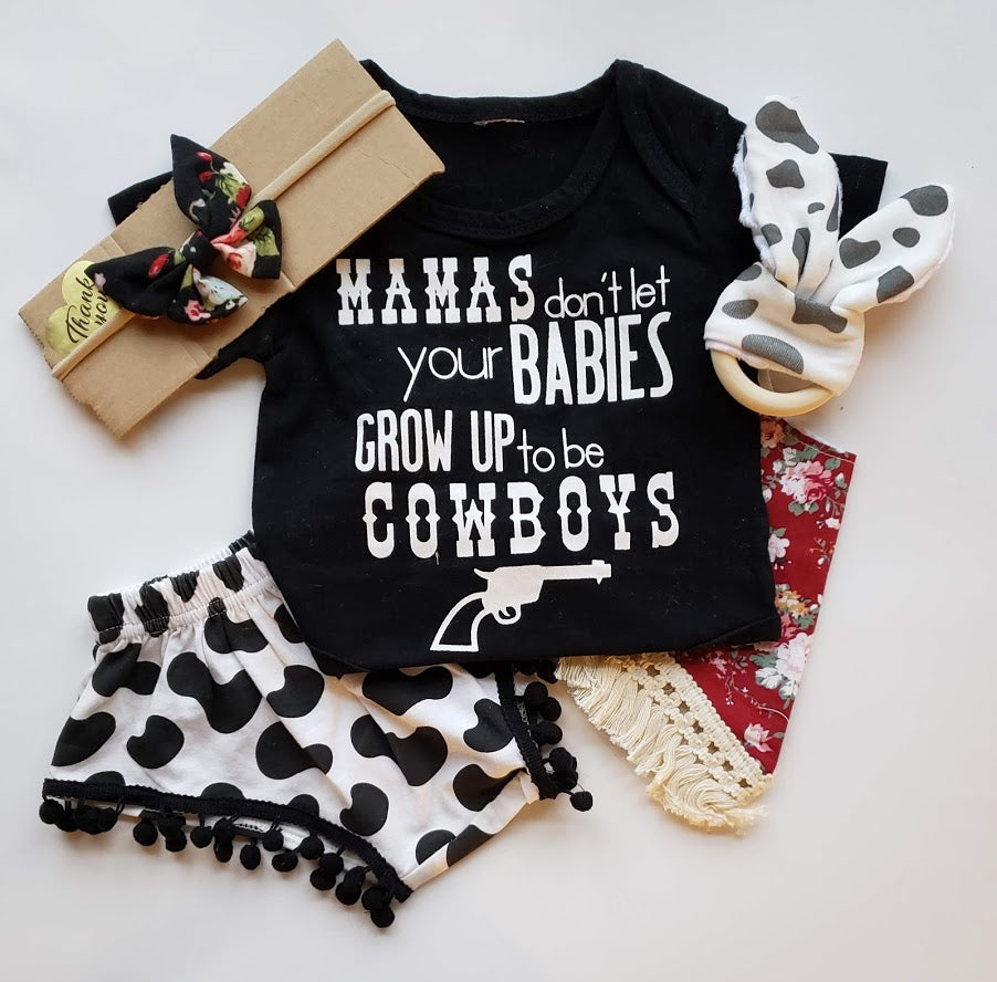 Mamas Don't Let Your Babies Grow Up To Be Cowboys Country Girls Outfit Diaper Cover T Shirt Bottoms Plus Accessories Farm Baby Shower Gift Set Infant
