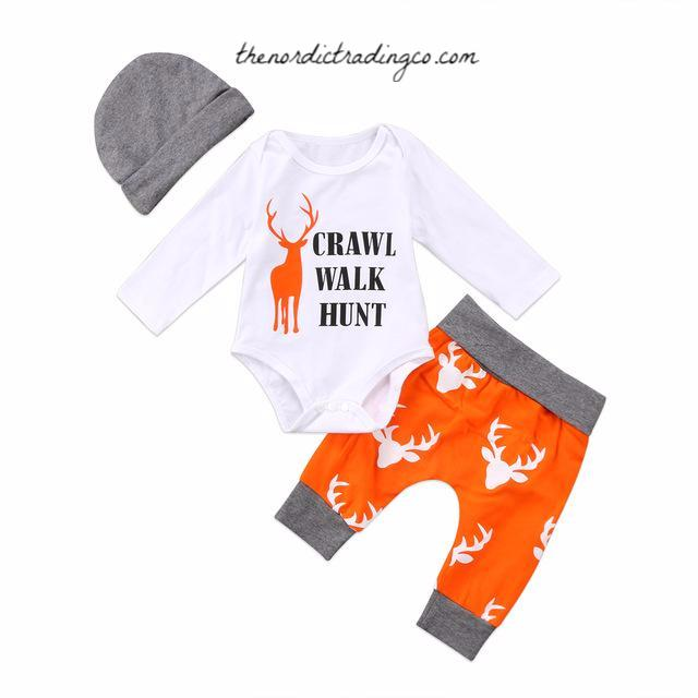 Crawl Walk Hunt Orange & Grey Newborn Boy Gift Set Deer Sets