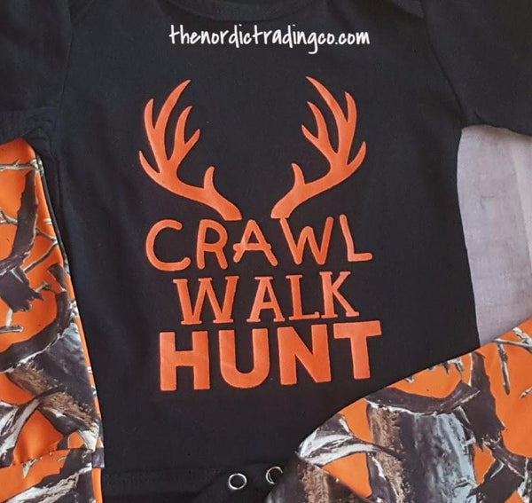 New! Crawl Walk Hunt 3 pc Infant Boy's Set Blaze Orange Camo Bottoms Beanie Hat Black Onesie 0-6 mo Newborn Hunting Boy Sets Baby Shower Gifts Clothes Hunt