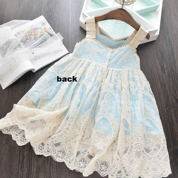 Off White Antique Lace Girl's Fancy Dress Big Girls Toddler Baby Flower Girl Easter Birthday Party Photo Shoot 3 Colors Melon Pink LT Blue Wedding