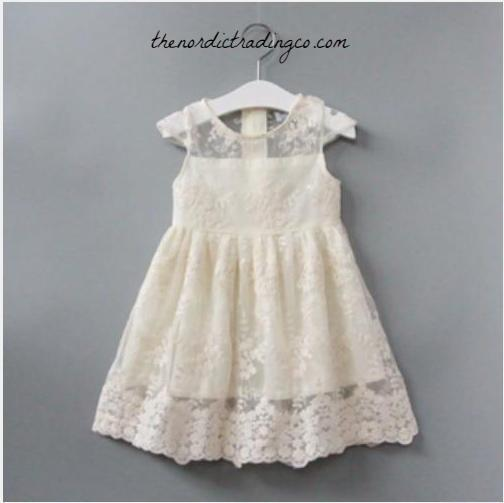 b72ef394c Girls Ivory Fairytale Tulle Lace Flower Girl Special Day Dress Size 2-6  Toddler Little