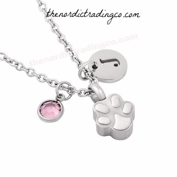 Custom Pet Memorial Necklace Ashes Keeper Dog Cat Paw Shaped Cremation Urn Stainless Steel Customized Women's Pendant Jewelry Girl's Ash Pendants Memory Silver