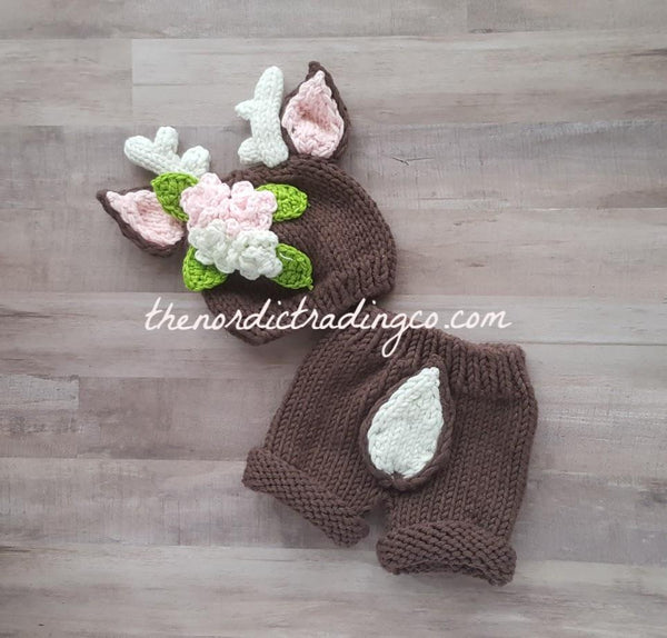 Oh Deer Daddy's Little Doe Is Here Handmade Crochet Newborn Deer Outfit Hat Bottoms Baby Shower Gift White Tail Pink Bow Infant Girl Hunt Photo Prop Finished Product