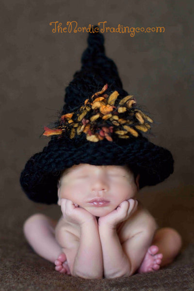 Newborn to 4 mo. Girls Handmade Black Crochet Witch Hat w/ Cute Fall Color Tassels October Baby Halloween Costume