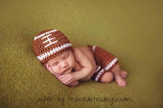 Touchdown Baby Boy Handmade Crochet Football First Photo Prop Beanie Hat Pants Bottoms Infant Photography Props Newborn Birth Announcements Baby Shower Gift Ideas USA