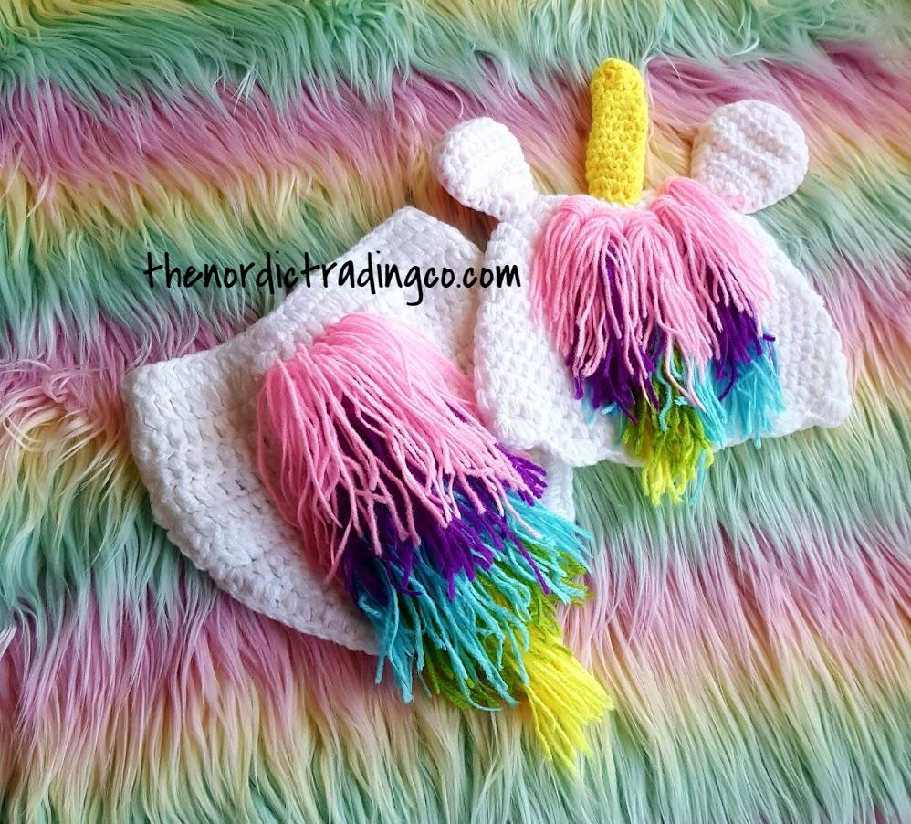 Infant Girl Unicorn Crochet 2 pc Set Photo Prop White Rainbow Mane Tail Baby First Halloween Milestone Costume Pictures Baby Shower Gifts Newborn Girl's Outfits Sets Hat Diaper Cover