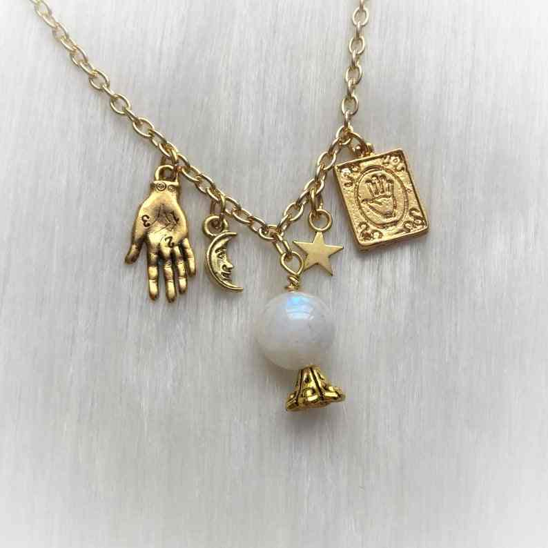 Crystal Ball Necklace Womens Pendant Necklace Gold Charms Celestial Charms Moon Palm Tarot Card Gifts Jewelry Women Her Girls Goth Supernatural