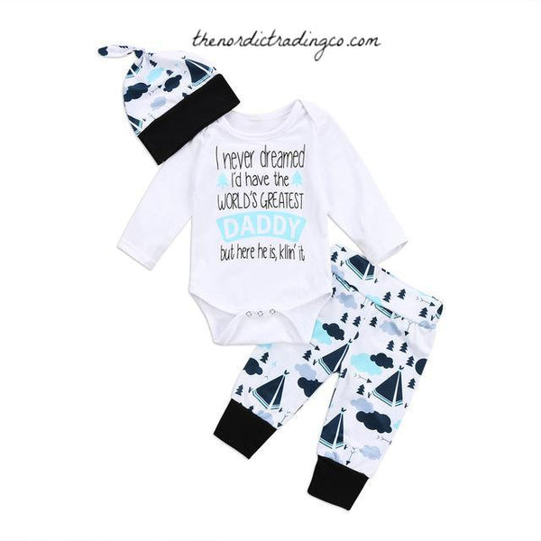 Nordic Baby Set I Never Dreamed I'd Have the Greatest Daddy Newborn Boy's Baby Shower Gift's Infant 3 pc Onesie Hat Long Bottoms Boys Sets Clothes Outfits