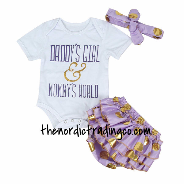 Daddy's Girl and Mommy's World Newborn Sets Infant Girl's Clothing Baby Shower Gift Ideas Onesie Ruffled Bottom Headband Purple Gold Kids