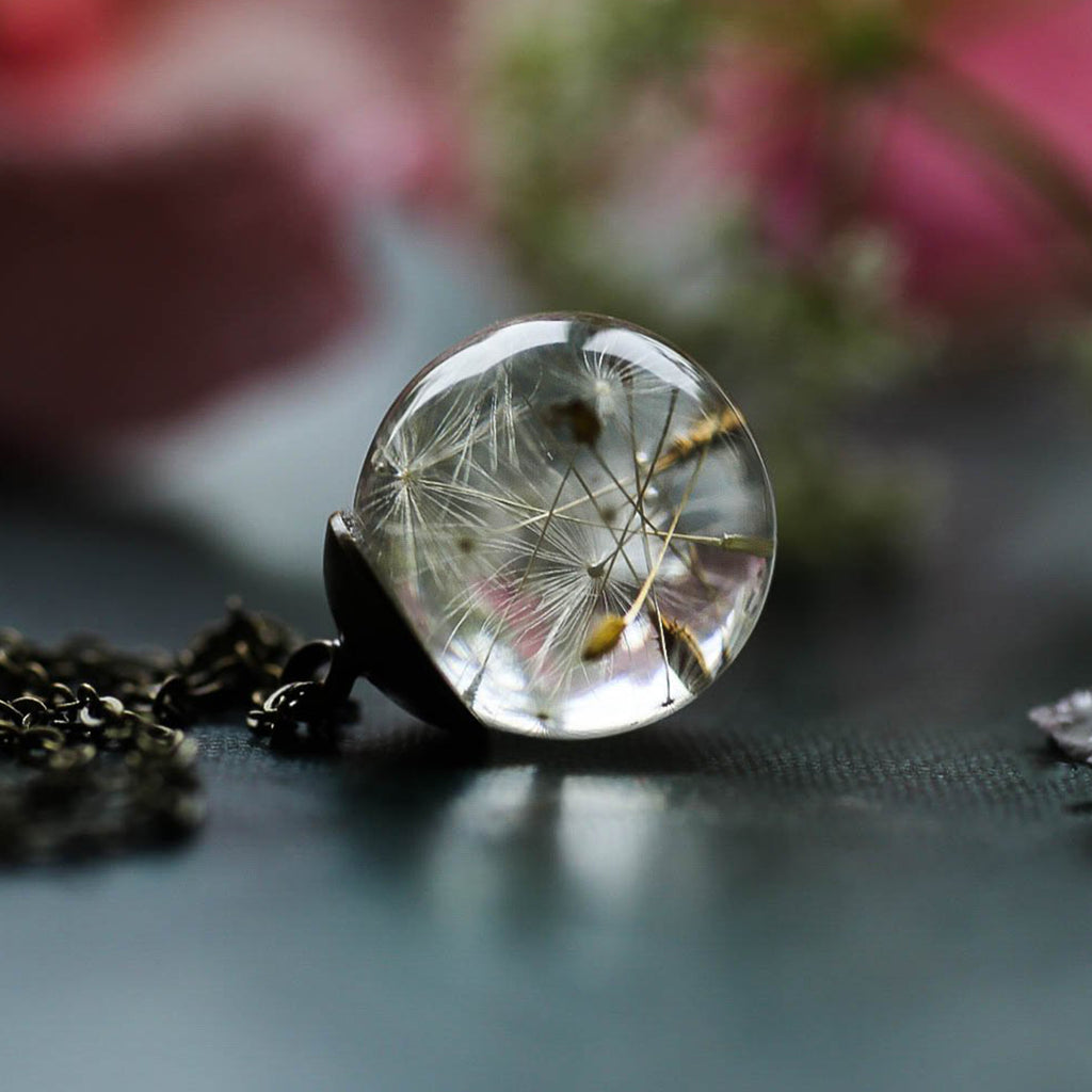 Dandelion Gazing Ball Wishing Pendant Necklace Clear Acrylic Crystal Real Dandelion WISH Seeds Womens Jewelry Gifts Best Wishes Gift Note Card