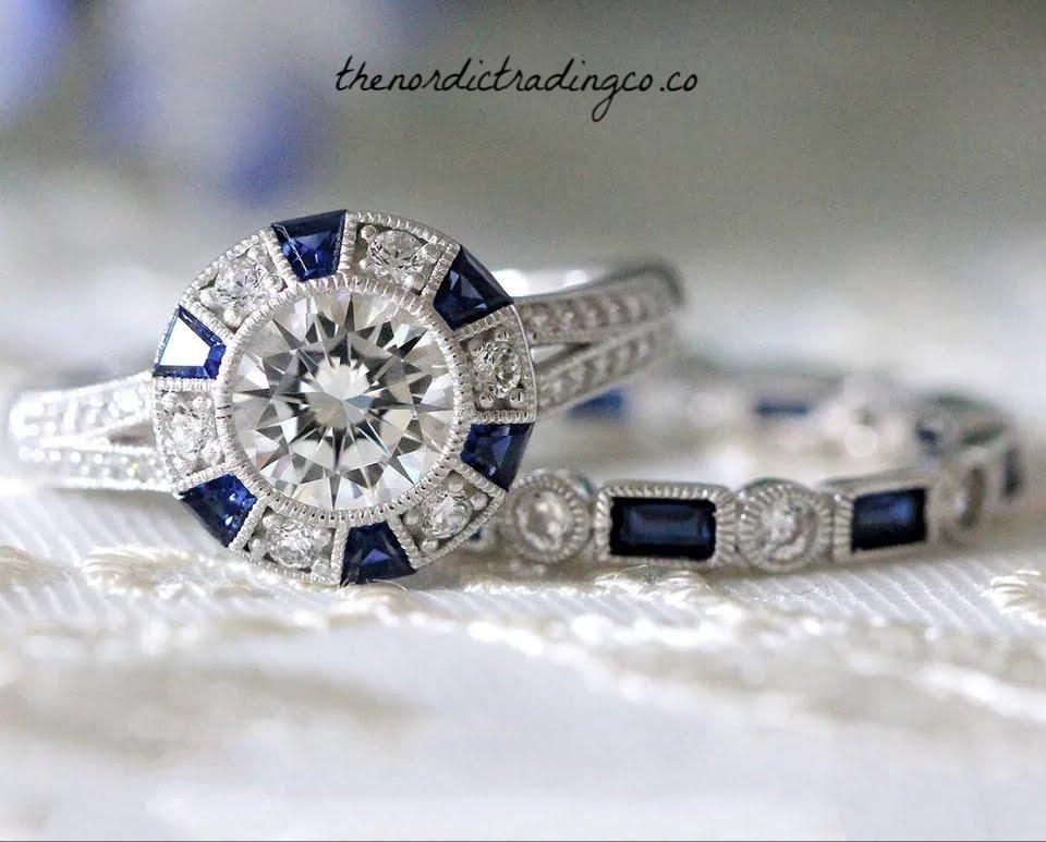 2f2169fb1706b Vintage Art Deco Wedding Rings Created Sapphire Accents 2 ct Brilliant CZ  Halo Setting Sterling Silver Plated Vintage Estate Jewelry Bride's Ring  Band ...