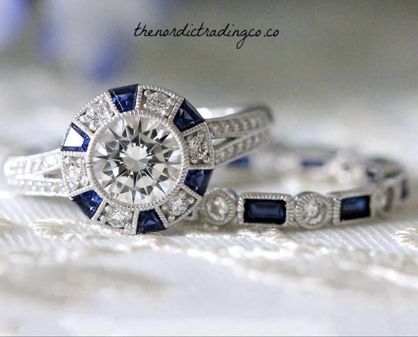 Vintage Art Deco Wedding Rings Created Sapphire Accents 2 ct Brilliant CZ Halo Setting Sterling Silver Plated Vintage Estate Jewelry Bride's Ring Band Set