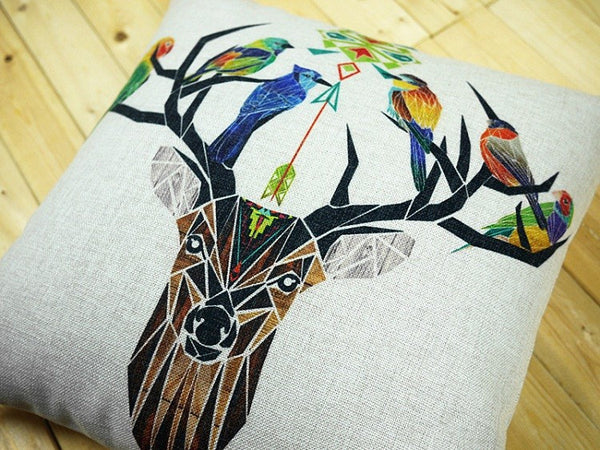 Minimalist Geometric Nordic Deer Elk Wild Birds Nesting in Antlers 45cm x 45cm Pillow Cover Linen Tribal Boho Home Decor Accents Sofa Bed Throw Living Room Rustic