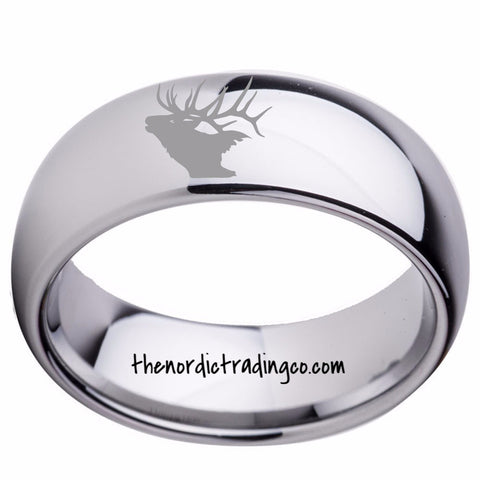 Silver Tungsten Carbide Elk Head Etched Hunter's Ring Men's Wedding Band  Anniversary Birthday Father's Day Gift