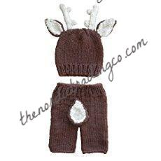 Newborn Deer Outfit Baby Boy's / Girl Photo Prop Set Babies First Photo Infant Hat Antlers White Tail Bottoms Baby Shower Gifts Woodlands Animals Buck Stag Doe Finished Product Hunting Inspired