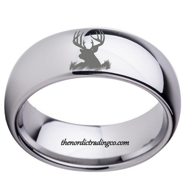 Deer Antler Rings Silver Tungsten Carbide Deer Head Silhouette In Stock USA Rings for Men Wedding Rings Bands