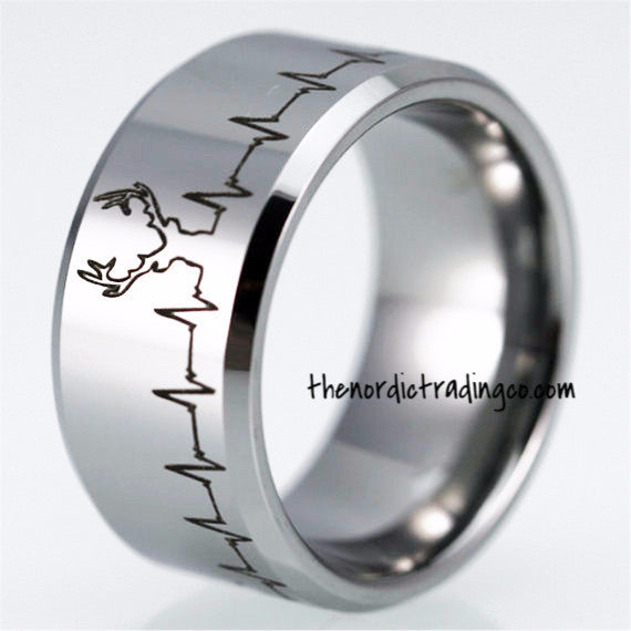 Deer Hunt Hunter Heartbeat Silver Tungsten Carbide Men Women Ring Hobby Lifestyle Occupation Wedding Bands sz 5 - 14 Father's Day Gift Gifts Him Jewelry