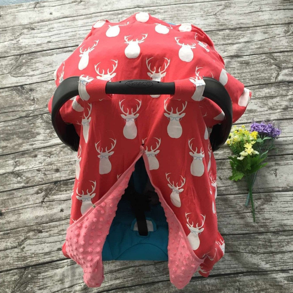 Minky Dot Coral Orange Car Seat Infant Carrier Cover Canopy Unisex Nursing Cover Deer Antlers Pattern Keep Baby Warm & Cozy