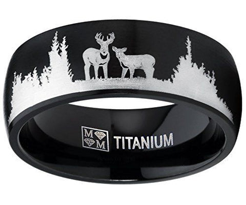 Black Titanium Scenic Deer & Doe Men's Ring Hunter Wedding Rings Bands Hunt Inspired Jewelry Gifts Men Man Guys