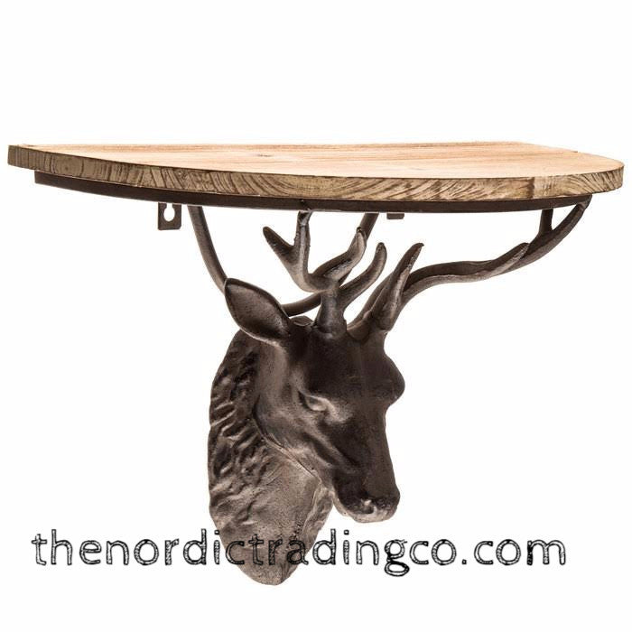 Rustic Farmhouse Cast Iron Deer Buck Antlers Distressed Wood Wall Shelf Home Decor Cell Mobile Phone