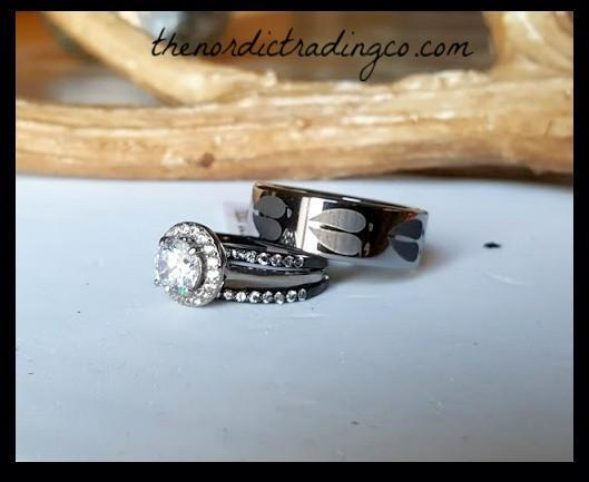 Hunting Theme Wedding Rings Engagement Ring 3 pc Bridal Set plus