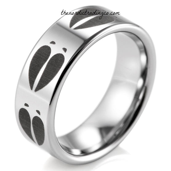 Outdoors Hunting Theme His and Hers Wedding Ring Set Men's Black Deer Tracks Silver Wedding Band Women's Bridal Engagement Rings Tungsten