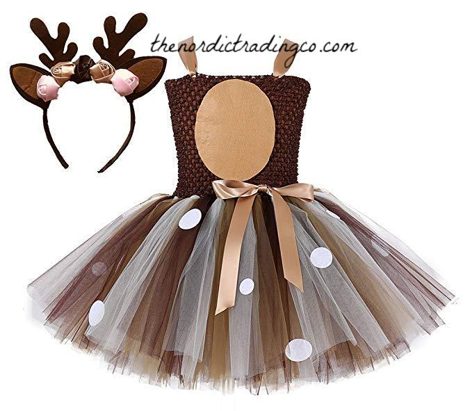 Little Girl's Doe / Deer Tutu Halloween Dress Up Costume READY to SHIP Sizes 3T 4T, 5 Dress Antlers Headband Bambi Toddler Girls Costumes Size Med