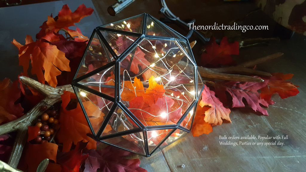 Enchanting Fall Leaded Glass Geometric Diamond Shape Rustic Center Piece Home Wedding Fall Winter Country Farm
