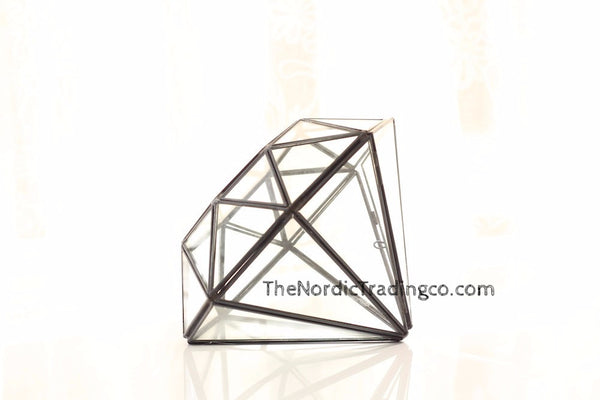 Enchanting Leaded Glass Geometric Diamond Shape Rustic Center Piece Home Rustic Wedding Country Farmhouse Leaded Glass