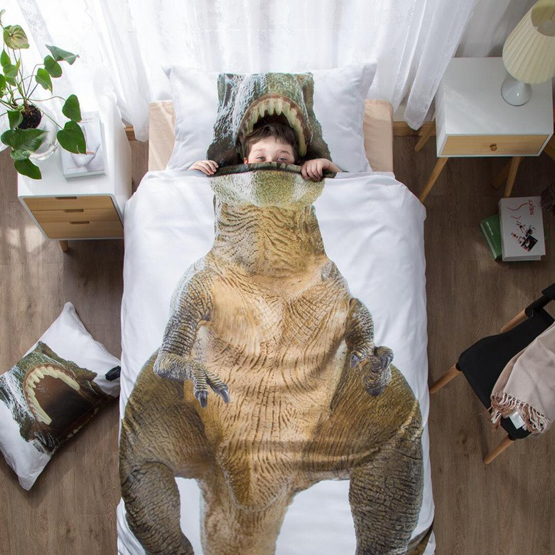 Dinosaur 3D Bedding Dino Duvet Twin Cover Pillow Case T ...