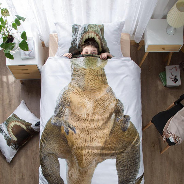Dinosaur 3D Bedding Dino Duvet Twin Cover Pillow Case T Rex Head Jaws 1 x Fitted Sheet Twin Realistic Digital Image