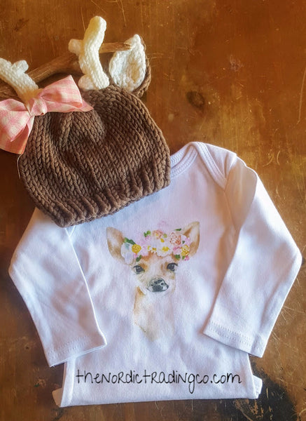 Deer Doe Bodysuit & Hat Baby Shower Gift Set Infant Newborn Girls Sets