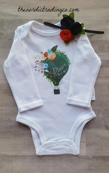 Dream Big Hot Air Balloon Nordic Newborn Gift Onesie Organic Cotton Bodysuit 0/3 Mo. Boutique Baby Shower Gifts Infant Clothing Girls Handmade