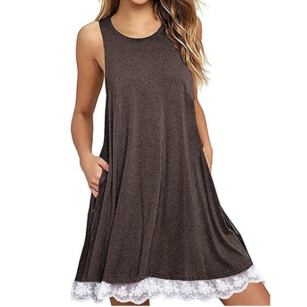 Women's Casual Dress Lace Hem Burgundy Blue Brown Black M L XL 2X Maternity Beach Dresses Cover Up Casual Womens Summer Clothing
