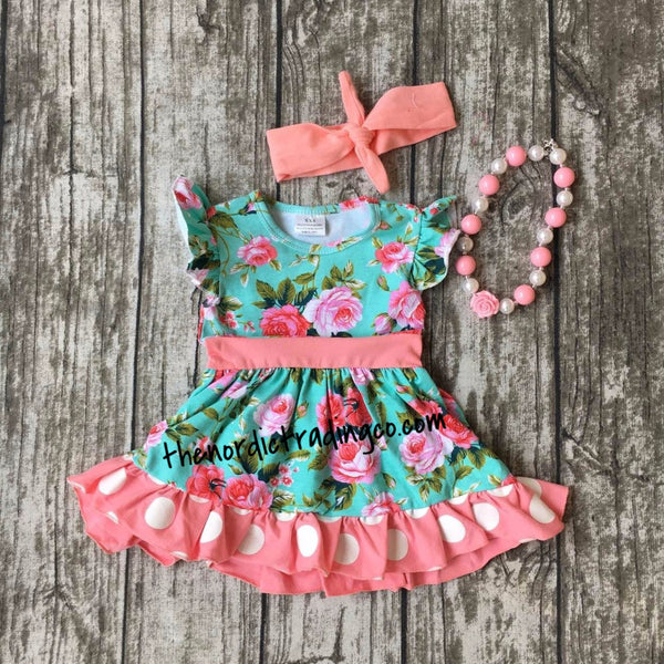 Gorgeous Girl's Big Floral Print Polka Dots Dress 3pc Set Headband Necklace Included 2T 4T 6 Pink Roses Kids Girl Boutique Clothes Dress USA