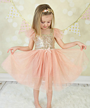 Toddler Little Girls Antique Pink & Gold Glitter Fluttering Sleeves Flower Girl Dresses Clothing Birthday Princess