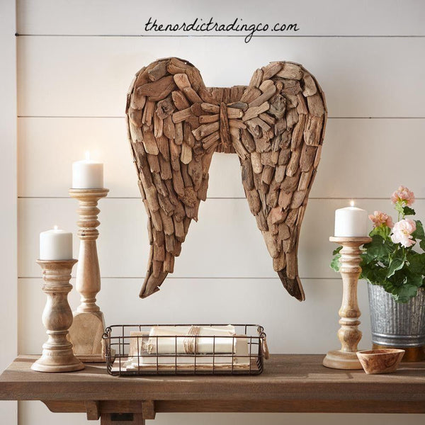 Driftwood Angel Wings Gallery Wall Art Home Decor Coastal Beach Global Rustic Statement Nursery Hearth Bedroom Accent Piece